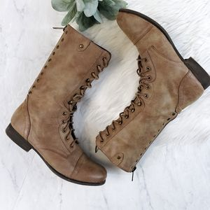 Madden Girl Galeriaa Tan Lace Up Combat Boots